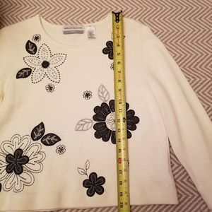 Alfred Dunner Sweaters - Alfred Dunner Embroidered Ivory White Sweater LP